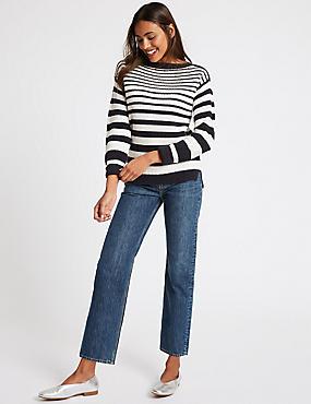 High Waist Straight Leg Jeans , DARK INDIGO, catlanding