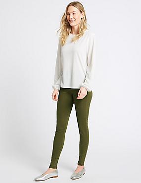 Mid Rise Skinny Leg Jeans, OLIVE MIX, catlanding