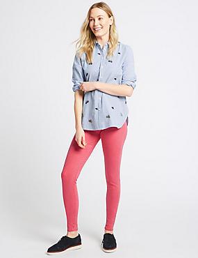 Mid Rise Skinny Leg Jeans, LIGHT RASPBERRY, catlanding