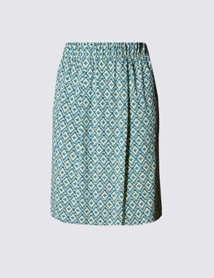 Прямая юбка с геометрическим принтом