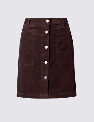 Хлопковая зауженная юбка А-силуэта с пуговицами