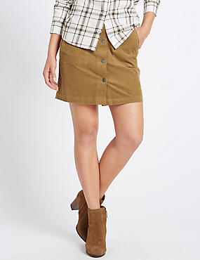 Cotton Rich  A Line Skirt, TOFFEE, catlanding