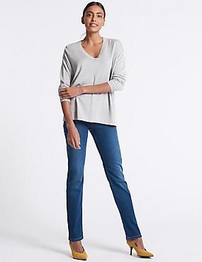 Sculpt & Lift Straight Leg Jeans, MEDIUM BLUE, catlanding