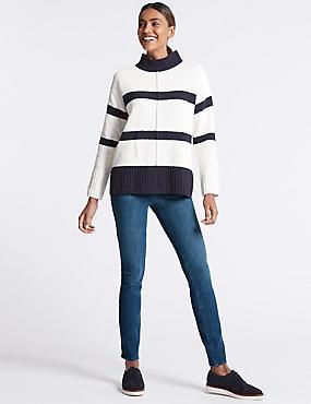 Bi-Stretch Mid Rise Skinny Leg Jeans , MEDIUM BLUE, catlanding