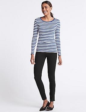 Bi-Stretch Mid Rise Skinny Leg Jeans , BLACK, catlanding