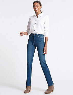 Bi-Stretch Mid Rise Straight Leg Jeans , MEDIUM BLUE, catlanding