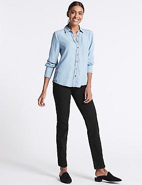 Bi-Stretch Mid Rise Straight Leg Jeans , BLACK, catlanding