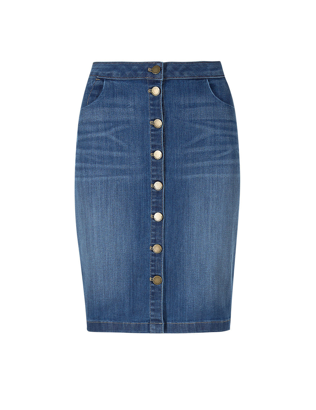 Button-Through Denim Pencil Skirt | M&S