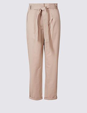 Pantalon droit 100% coton à nouer à la taille, ROSE, catlanding