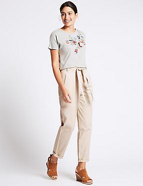 Pantalon droit 100% coton à nouer à la taille, BEIGE, catlanding
