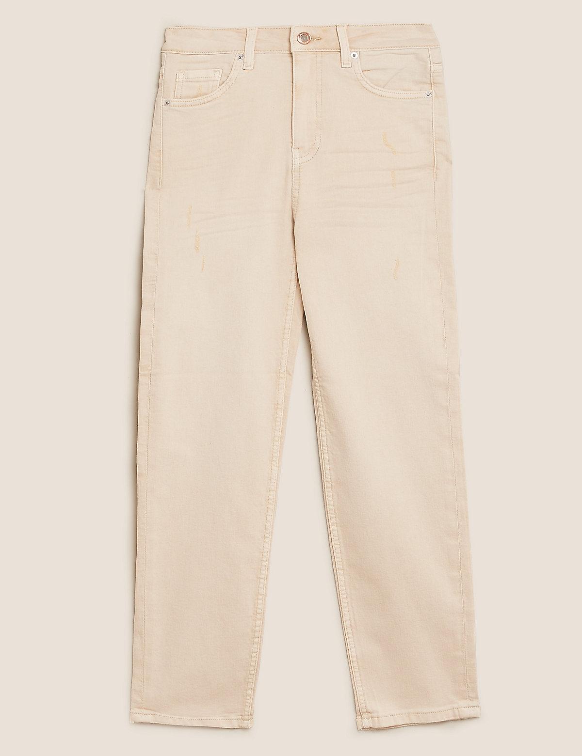 Укороченные джинсы слим средней посадки