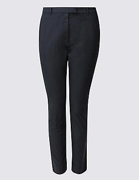 PLUS Cotton Rich Straight Leg Trousers, NAVY, catlanding