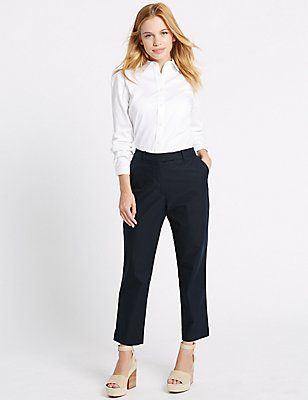 PETITE Cotton Rich Chino Slim Leg Trousers, NAVY, catlanding