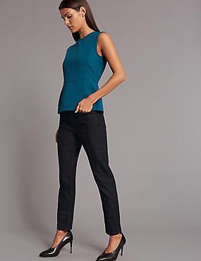High Waist Straight Leg Jeans, DARK INDIGO, catlanding