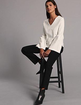 High Waist Straight Leg Jeans, BLACK, catlanding