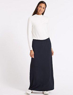 Jersey Maxi Skirt, NAVY, catlanding