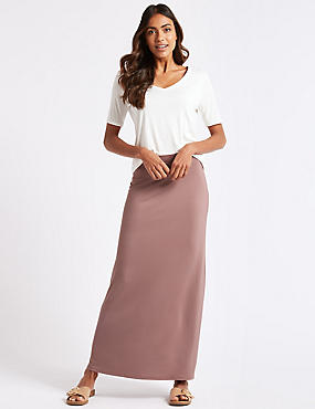 Jersey Maxi Skirt, COCOA, catlanding