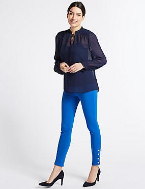 Hem Detail Roma Rise Jeans , BRIGHT BLUE, catlanding