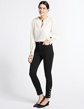 Hem Detail Roma Rise Jeans , BLACK, catlanding