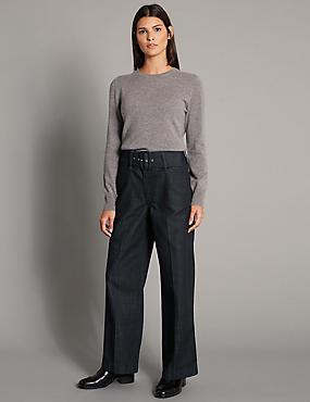 High Waist Wide Leg Culotte Jeans, INDIGO, catlanding