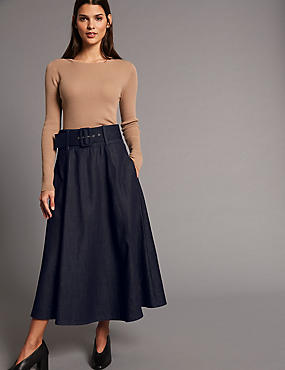 Cotton Rich A-Line Midi Skirt with Belt, INDIGO, catlanding