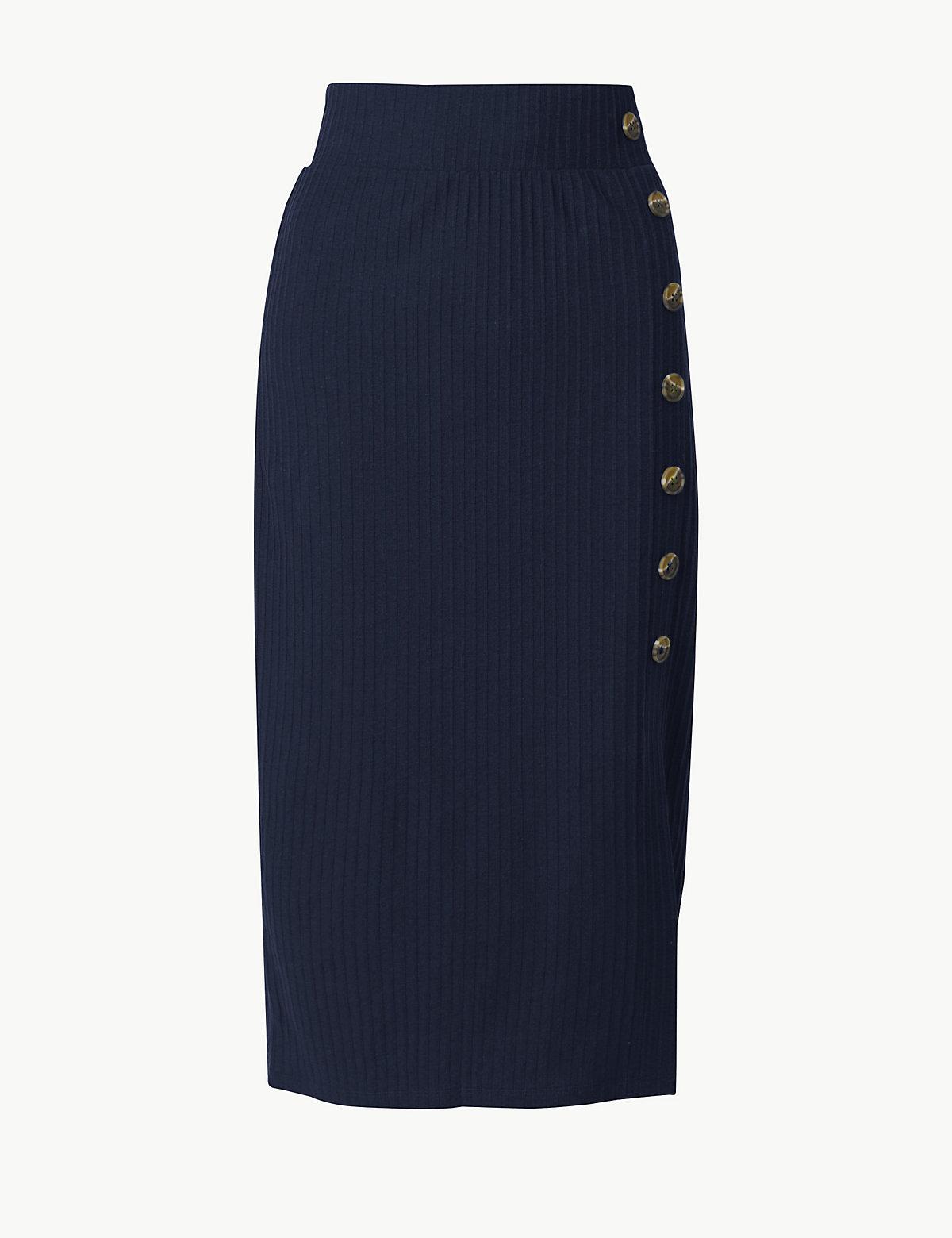 Фактурная юбка А-силуэта с большими пуговицами M&S Collection. Цвет: темно-синий