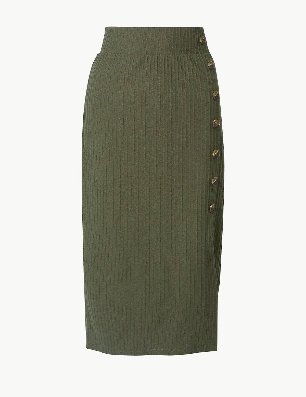 Фактурная юбка А-силуэта с большими пуговицами M&S Collection. Цвет: хаки микс