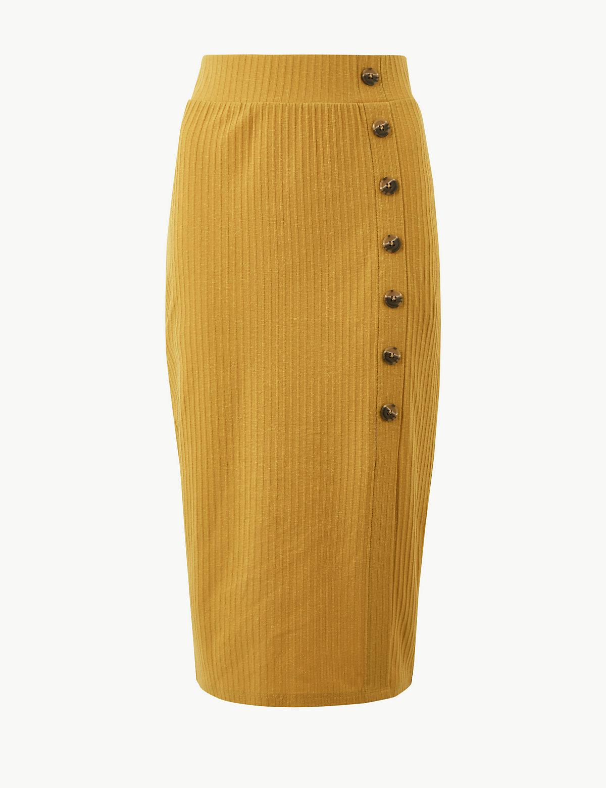 Фактурная юбка А-силуэта с большими пуговицами M&S Collection. Цвет: охра