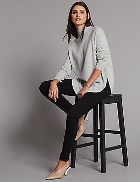 Skinny Leg Mid Rise Jeans , BLACK MIX, catlanding