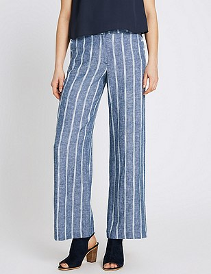 Linen Blend Striped Wide Leg Trousers, BLUE MIX, catlanding