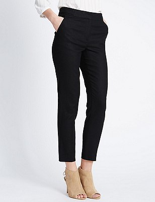 Linen Blend Tapered Leg Trousers, BLACK, catlanding