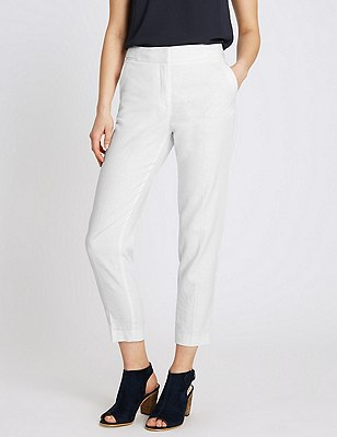 Linen Blend Tapered Leg Trousers, WHITE, catlanding