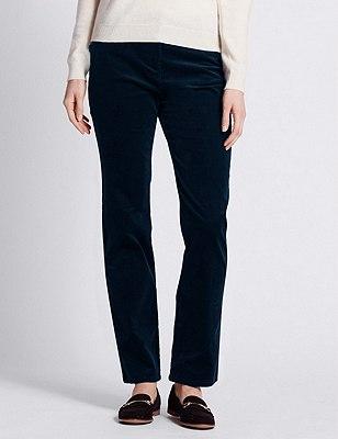 Cotton Rich Corduroy Straight Leg Trousers, DARK NAVY, catlanding