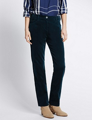 Cotton Rich Corduroy Straight Leg Trousers, DARK TEAL, catlanding