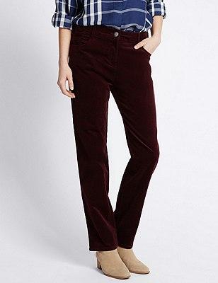 Cotton Rich Corduroy Straight Leg Trousers, BURGUNDY, catlanding