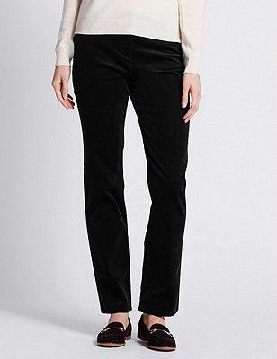 Cotton Rich Corduroy Straight Leg Trousers, BLACK, catlanding