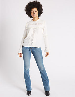 Mid Rise Slim Bootcut Jeans, MID BLUE, catlanding