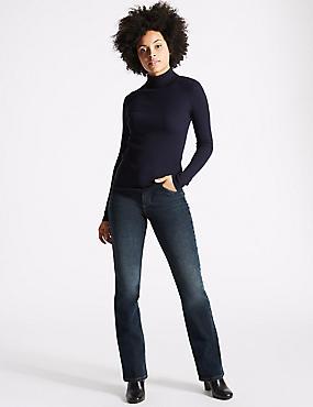 Mid Rise Slim Bootcut Jeans, DARK INDIGO MIX, catlanding
