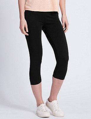 Cotton Rich Cropped Leggings, BLACK, catlanding