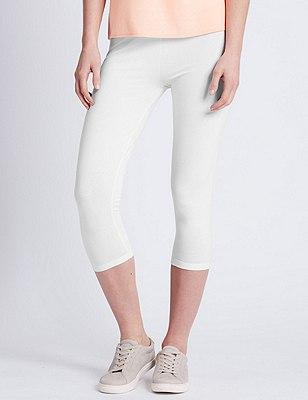 Cotton Rich Cropped Leggings, WHITE, catlanding