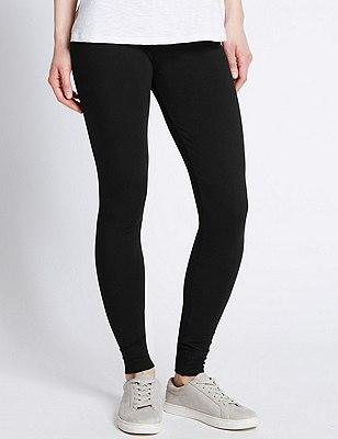 Cotton Rich Leggings, BLACK, catlanding