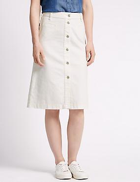 Longline Denim A-Line Skirt, ECRU, catlanding