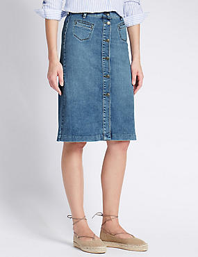 Longline Denim A-Line Skirt, MEDIUM INDIGO, catlanding