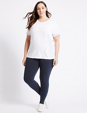 PLUS Cotton Rich Core Leggings, NAVY, catlanding