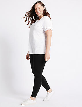 PLUS– Leggings en coton, NOIR, catlanding