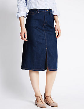 Longline Denim A-Line Skirt