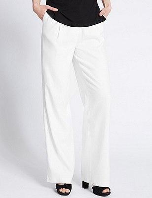 Linen Blend Wide Leg Trousers, WHITE, catlanding