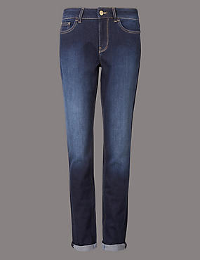 Turn Up Mid Rise Cropped Jeans, DARK INDIGO, catlanding