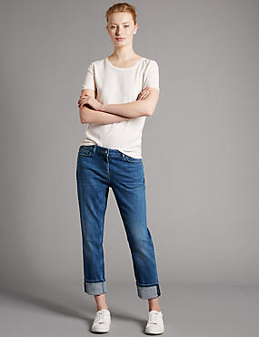 Turn Up Mid Rise Cropped Jeans, INDIGO, catlanding