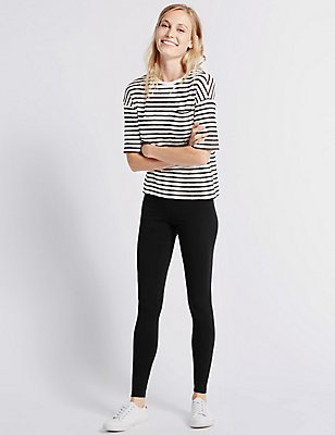 PETITE Cotton Rich Leggings  , BLACK, catlanding